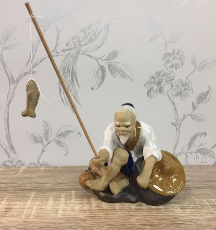 Ceramic Traditional Chinese Fisherman - Sitting, White
